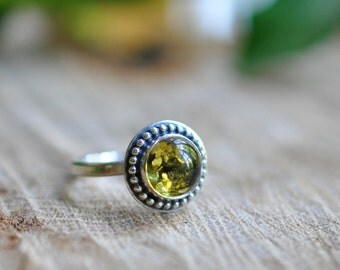 Sterling Green Amber Stacking Ring, Oxidised, Sterling Silver Gemstone Ring - Candy Ring in Green Amber