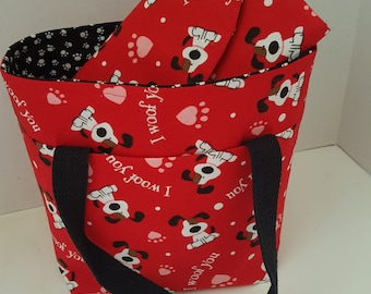 Diabetic Organizer Set...I Woof You Tri-Fold and Tote