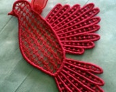Lace Christmas Decoration Red Bird