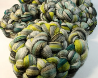 BFL Polwarth Merino -  Custom Blended Wool Top Roving For Spinning & Felting  - Cerberus