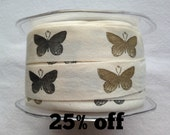 SALE 25% OFF - Woven Butterfly Ribbon - 20mm - 3 metre length - Butterflies - Cotton - Garden