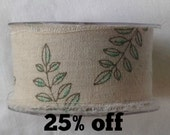 SALE 25% OFF - Burlap Ribbon - Leaves - 50mm - 3 metre length - Raw Edge