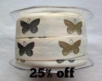SALE 25% OFF - Woven Butterfly Ribbon - 20mm - 3 metre length - Butterflies - Cotton - Garden