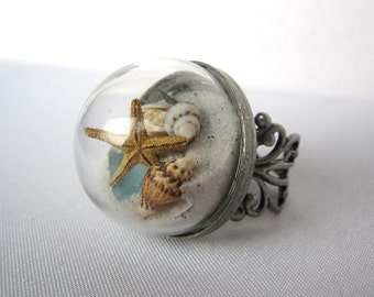 Flat-Back Beach in a Bubble Filigree Ring - Real Sand, Shells, Sea Glass, Starfish, Driftwood- 30-A or Ireland - 2nd Generation