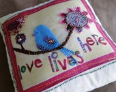 Bluebird Love Lives Here Yellow and Pink Beaded Art Pillow