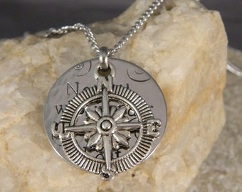 Not all Who Wander are Lost Compass Necklace/Keychain