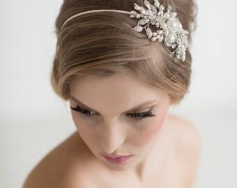 Bridal Hairpiece, Crystal Pearl Headband, Wedding Headpiece, Wedding Headband, Bridal Crystal Pearl Tiara