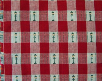 Vintage Red Gingham Fabric or Tablecloth with Old Time Lampposts