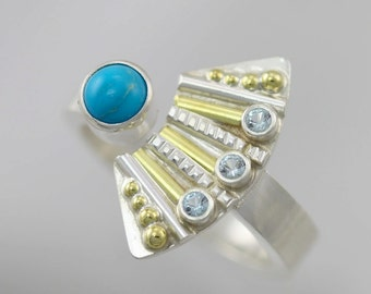 Striped Totem with 3 Stones Split Ring and Turquoise (Blue Topaz) in Sterling SIlver, 14ky Gold