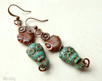 Boho owl earrings, rustic Czech glass owls and leaves