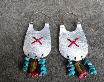 Handmade nomadic stitched earrings
