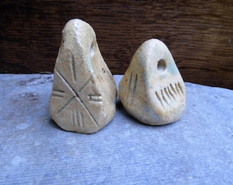 Artisan made amuletic ceramic seal pendants - set of 2 - Head and Bird