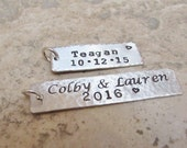 Reserved for Nadja - Five Personalized Sterling Silver Custom Hand Stamped Charm Tags for Your Project