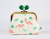 Metal frame coin purse with color bobble - Flamingos and palm trees - Color dad / Korean fabric / Tropical summer / peach pink emerald green