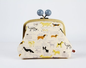 Metal frame clutch bag - Dogs in yellow - Color bobble purse / Japanese fabric / Caramel brown grey blue black neon green