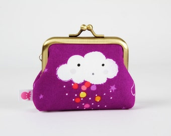 Metal frame change purse - Cute cloud on purple - Big mum / Kawaii cloud / Colorful rain / White red pink orange red yellow / Happiness