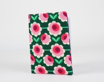 Fabric card holder - Retro flowers in pink and green / summer bloom / emerald mint fuchsia