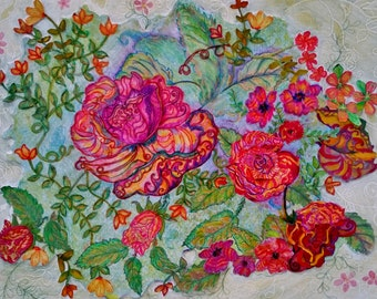 Original contemporary floral water color painting with added floral layers signed KarensArt