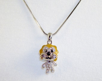 Silvertone Lion Pendant Necklace