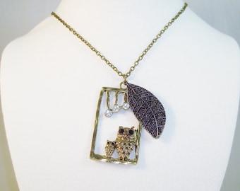 Brass Tone Owl Leaf Pendant Necklace