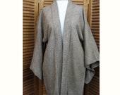Vintage Cocoa Brown Shibori Haori Short Kimono