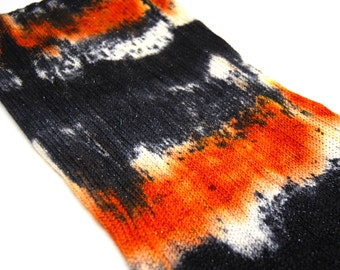Glam Rock Sparkle Sock Blank - Orange/Black  Handpainted Superwash Merino - 438 Yards