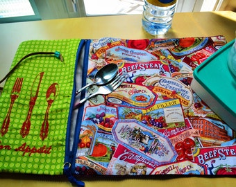 picnic placemat,roll up picnic,Placemats with pockets,doily,doily zipped for work,picnic,doily work,placemat lunch,placemat zipped,tomato