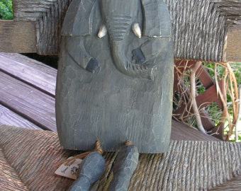 Vintage Collectible Wood Carving Elephant by James Haddon