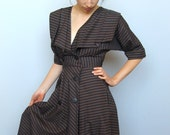 easy classic -- vintage 80s does 30s striped double breasted dress size S