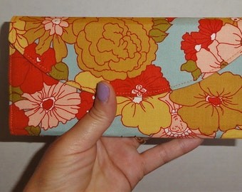 Large Golden Yellow Floral Owl Wallet