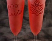 Outlander inspired Mo gràdh (My Love) Gaelic Celtic Frosted Etched Beer flutes Glasses Set Of 2