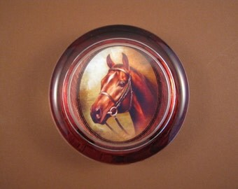 Brown Horse Portrait Round Glass Paperweight Horse Lover Home Decor