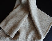 Handwoven Organic Cotton Towel in Natural and Brown Foxfibre