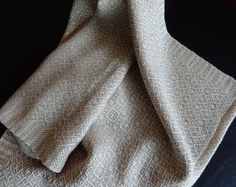 Handwoven Organic Cotton Towel in Natural and Light Brown Foxfibre