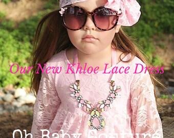 Girls pink lace ruffed dress Flower Girl Wedding Dress