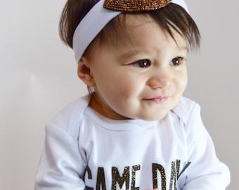Game Day Baby beaded rhinestone Football  headband for Baby infant