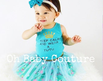Baby Infant Outfit Keep Calm and Wear a Tutu Tank Glitter Crown & Matching tulle tutu skirt headband set