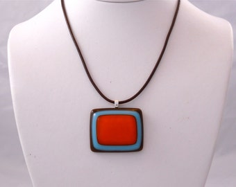 Handmade Necklace with Modern Glass Pendant Orange and Turquoise