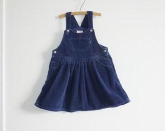 SALE // Vintage Navy Corduroy Girls Dress