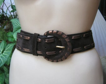 Vintage Yves Saint Laurent brown copper belt, suede leather YSL rive gauche leather woven belt, brown suede copper leather stitched belt