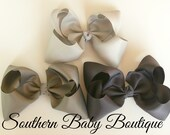 INVENTORY BLOWOUT SALE----Simple X-Large 5.5 Inch Hair Bow Set----Grays----