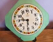 "Vintage Irving Miller Porcelain Face Art Deco Wall Clock - Mint Green Octagonal Face Marked ""Dresden"" - Floral Design - Movement Replaced"