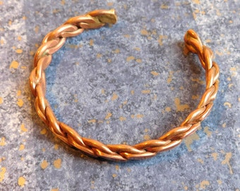 Vintage Copper Cuff Bracelet - Twisted Rope Style - Artisan Made - Nice Aged Patina - 1970s Handmade Jewelry - Braided Chain Style