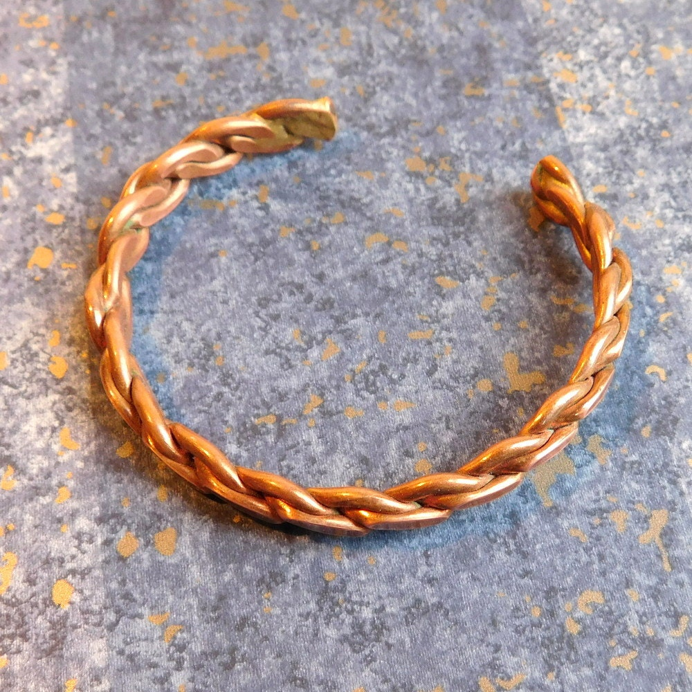 Copper Braided Rope : Vintage copper cuff bracelet twisted rope style artisan