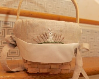 READY 7 inch mini basket khaki liner white outer liner bunny in cattails with bird above