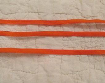 5 yards Orange Velvet 1/4 inch ribbon Washable Crush Shine Proof