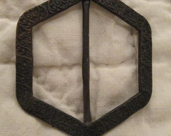 Antique Buckle Hexagon Metal with design SALE