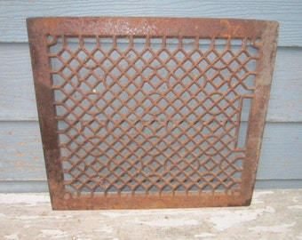 Antique Architectural Salvage Large Rusty Iron Register Grate