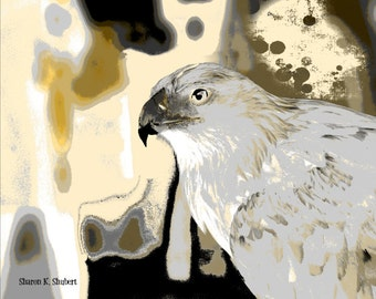 Hawk Art, Native American Totem Animal, Southwestern Digital Print, Bird Home Cabin Decor, Earth Tones, Wall Hanging, Giclee Print, 8 x 10