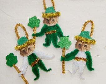 Bump Chenille Ornaments  ORANGE TABBY Cats, Vintage Style Chenille Ornaments, Pet ornaments   (177)